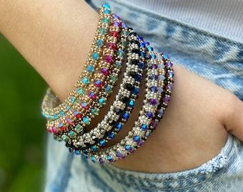 3 Souls, Boho Seed Bead Bracelet, Handmade Bead Bracelet, Seed Bead Bracelet with Swarovski Crystals, Summer Bracelet, Bangle Bracelet