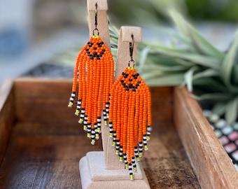 Halloween Pumpkin Earrings, Seed Bead Pumpkin Earrings, Pumpkin Orange Earrings, Jack O Lantern, Orange Fringe Earrings, 3 Souls
