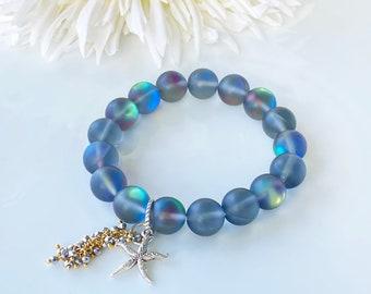 Stretch Bracelet, Rainbow Crystal, Mermaid Glass Bracelet, Stacking Bracelet, Aurora Beads, Aura Glowing Beads, Summer Beach Bracelet