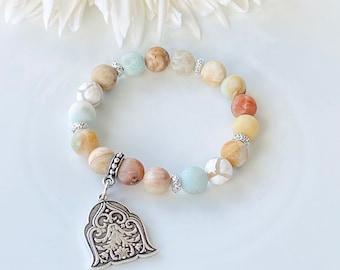 Stretch Bracelet Handmade, Amazonite, Gemstone Bracelet, Stacking Bracelet, Charm Bracelet, Gift for Her, Handmade, Tibetan Agates