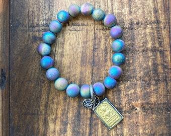 Druzy Agate Bracelet, Stretch Gemstone Bracelet, Stacking Bracelet, Charm Bracelet, Meditation Gift, Handmade Bracelet, Yoga Bracelet