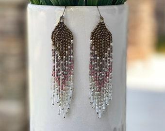 Handmade Earrings, Fring Seed Bead Long Earrings, Long Drop Earrings, Boho Earrings, Dangle Earrings, Beaded Earrings, Jewelry Gift, 3 Souls