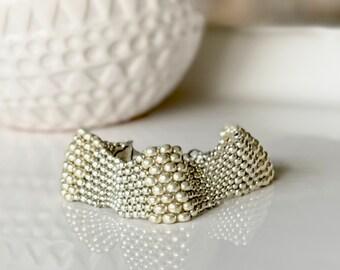 """3 Souls, Peyote Bracelet, Handmade Bracelet, Beaded Cuff, Silver, Seed Bead Jewelry, Fits 7""""-8"""", Silver Beadwork Bracelet"""