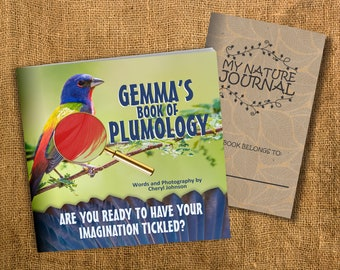 """Personalized Childrens Bird Book - """"Plumology."""" Perfect for Elementary Children Ages 6-12. Comes with FREE Nature Journal"""