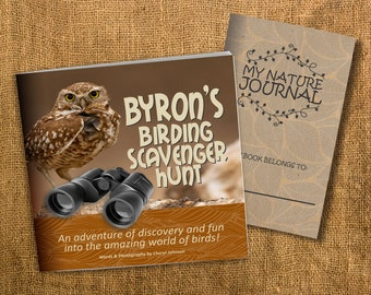 Personalized Childrens Bird Book - Birding Scavenger Hunt Perfect for Elementary Children Ages 4-10. Comes with FREE Nature Journal