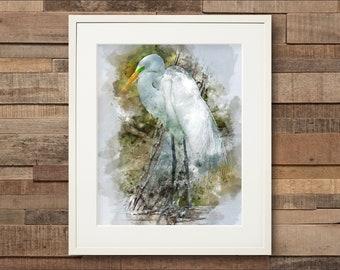 Watercolor Great Egret Fine Art Print or Cavas Print