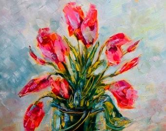 9 x 12 Oil Painting, Tulip Celebration