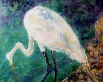 16 x 12 Original Acrylic Painting, Thoughtful Egret, City Hall, St. Augustine, Florida