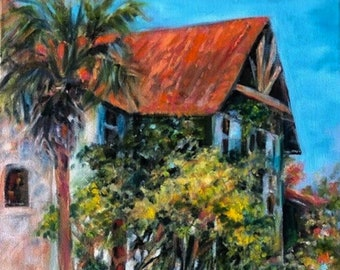 """11 x 14 Original Oil Painting, """"Spring Blooms & Ivy"""", Palencia, St. Augustine, Florida"""