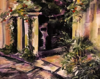 11x14 Original Acrylic Painting, Courtyard in St. Augustine