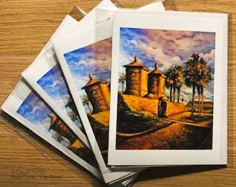 "Set of 4 Note Cards of Original Artwork, City Gates, St. Augustine, FL (4-1/4"" x 5-1/2"") With Envelopes"