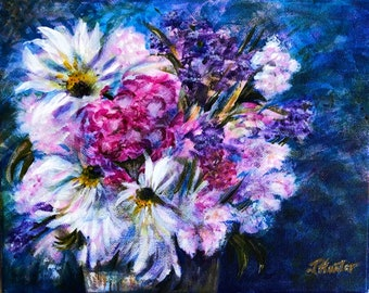 """8 x 10 Original Acrylic Floral Painting """"Basket of Hope"""". Great as a gift or to enjoy as an addition to your home decor."""