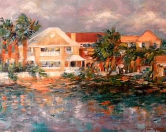 """12 x 16 Original Oil Painting, """"Summer Haven in the Morning"""""""