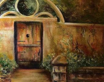 16 x 20 Original Oil Painting Old St. Augustine Garden Door
