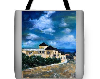 """18"""" x 18"""" Scenic Tote Bag, Durable, Machine Washable and Double Stitching, Print from Original Artwork """"Charlotte Street, St. Augustine"""""""