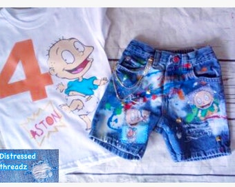 19300c5a2e rugrats tommy boy birthday outfits Distressed denim shorts and shirt set