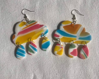 STAINED GLASS - rain clouds - handmade statement clay earrings