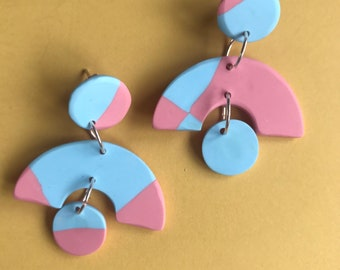 CANDYFLOSS checkerboard abstract dangles - handmade minimalist statement earrings