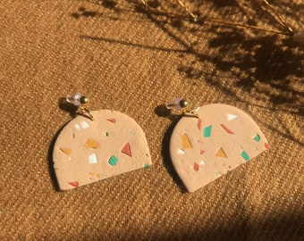 SANDY TERRAZZO - short arches - handmade statement clay earrings