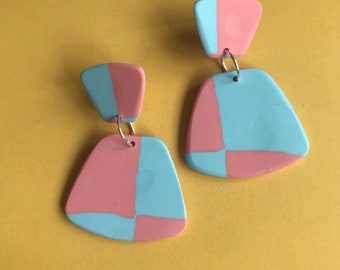 CANDYFLOSS grid fan drops - handmade minimalist statement earrings