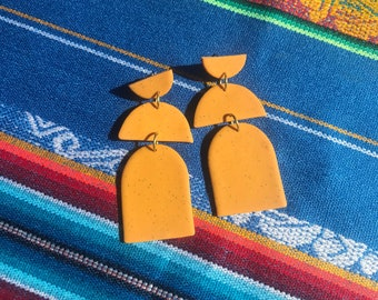 MUSTARD GRAIN - double arches - handmade statement clay earrings