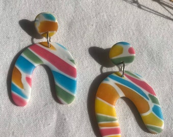 STAINED GLASS - short arches - handmade statement clay earrings