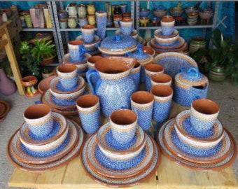 Authentic Mexican Barro dinnerware for 6,  farmhouse dinnerware, lead free, kitchen decor, coffee set,