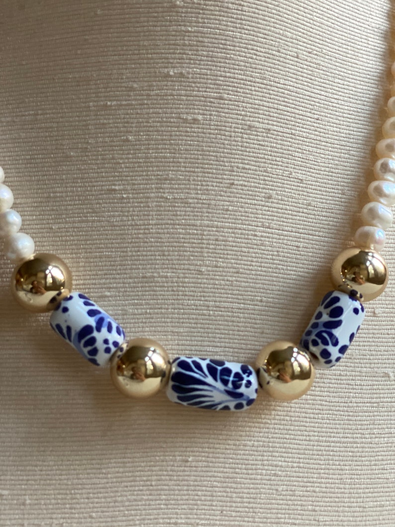 talavera poblana necklace Mediterranean style jewelry Art jewelry gift pearls /& talavera gift