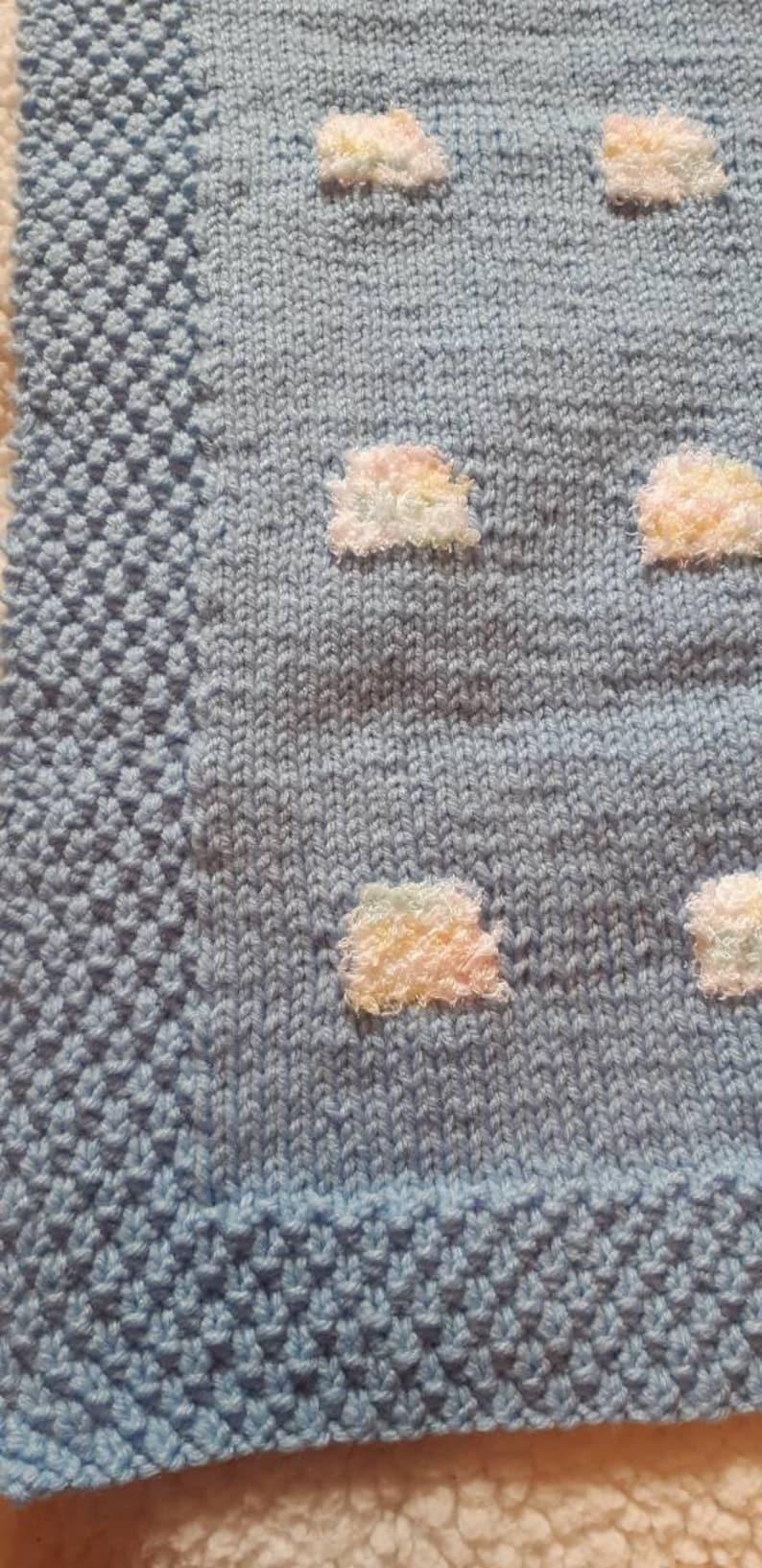 Car Seat Blanket Blue Sky Baby Blanket Rainbow Cloud Baby Blanket Seed Stitch Border Baby Blanket