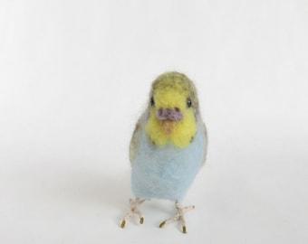 Handmade Needle Felted Yellow Budgie Felt Wool Parakeet Room Desk Decor Bird Lover Gift Unique Gift
