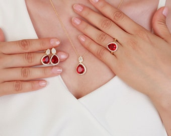 1c64de1f7cdc14 Garnet Set - Garnet Necklace - Garnet Ring - Garnet Earrings - Personalized Garnet  Jewelry - Mothers Day Gift - Garnet Gift Jewelry