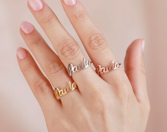 3deacf9d8d Custom Name Ring - Personalized Name Ring - Baby Name - New Mom Ring -  Bridesmaid Jewelry - Meaningful Christmas Gifts - WJ8FG