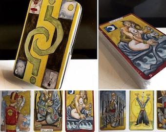 The Tarot of Why.   Original Hand Drawn Tarot Card Deck / 78 Card Tarot Deck / with Tarot Card Box / Unique First Edition Signed Tarot Deck