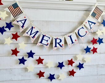 Mini Red White and Blue Banner 4th of July Garland Memorial Day Banner Patriotic Bunting 4th of July Banner 4th of July Bunting