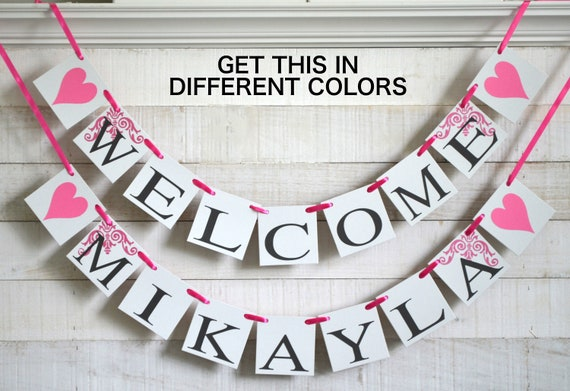 Welcome Baby Banner Baby Name Banner Welcome Baby Sign Etsy