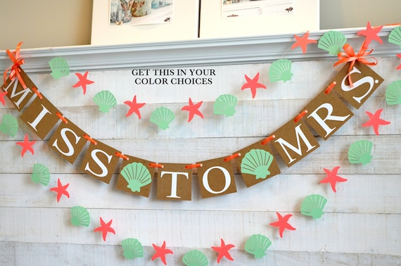 Beach Bridal Shower Decorations//Mint and Coral From Miss to Mrs Banner//Sea Shells Bachelorette Party Decor