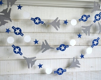 Air Force Party Decorations, Roundel, Air Force retirement party decor, Air Force jet decorations, navy and gray - Choose your colors