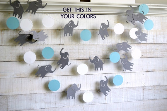 Elephant Garland Elephant Baby Shower Decorations Gray