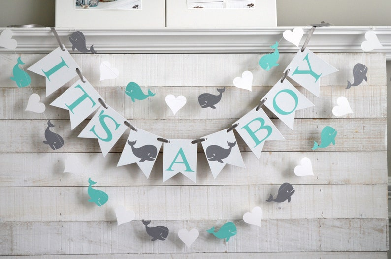 It/'s a boy whale shower decorations Whale baby shower banner Ahoy It/'s A Boy whale banner whale garland choose your colors