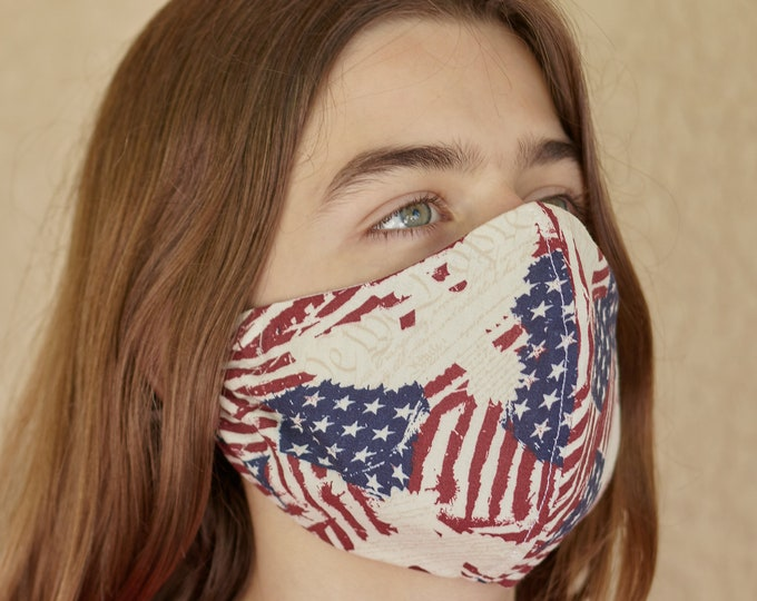 Featured listing image: USA Face Mask with Filter Pocket, 100% Cotton Facemask with 2 Layers, Mens Facemask, Womens Facemask, Adult Facemask, US Flag Face Mask