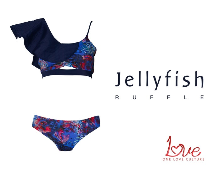 Featured listing image: Two-Piece Swimsuit - Jellyfish Ruffle