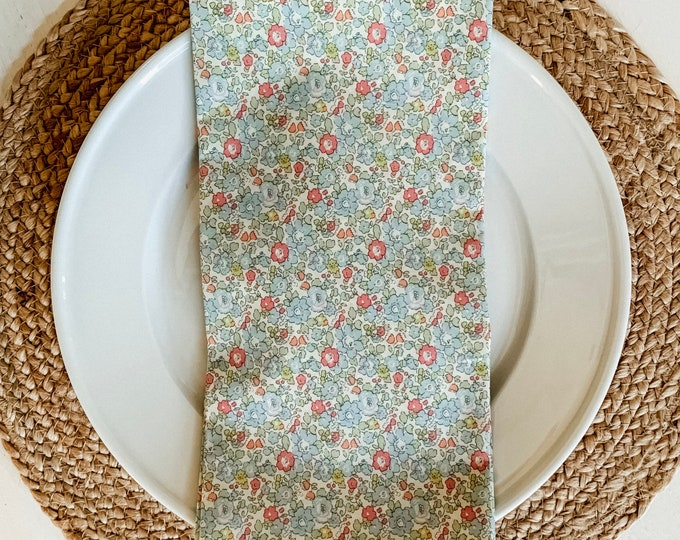 Louise Dinner Napkin - Set of 4  Liberty of London Floral in Blue, Green, and Coral by The Lilias Collective