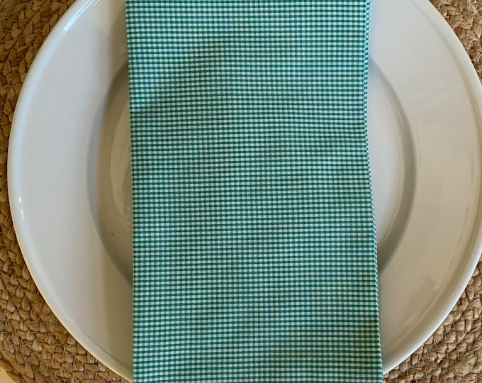 Gracie Napkin - Set of 4, in Green and White Cotton Mini Check , 22inch square by The Lilias Collective