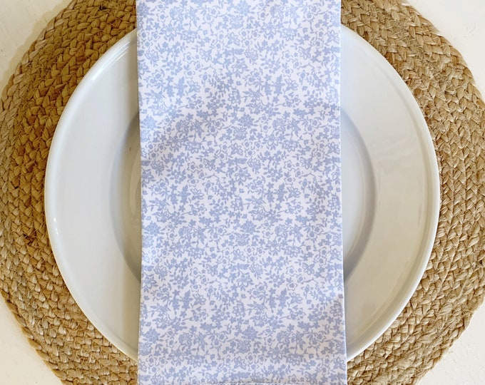 Sarah Napkin - Set of 4,  in Blue and White Cotton, 22inch square by The Lilias Collective