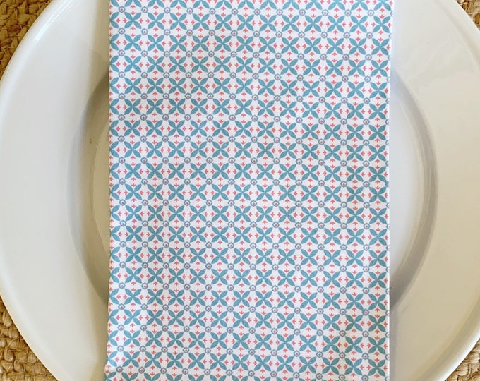 Millie Napkin - Set of 4,  in Blue and Coral Hatch on White Cotton, 22inch square by The Lilias Collective