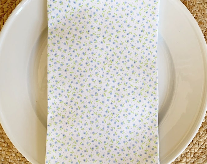 Annie Napkin in Blue and White Cotton, 22inch square by The Lilias Collective