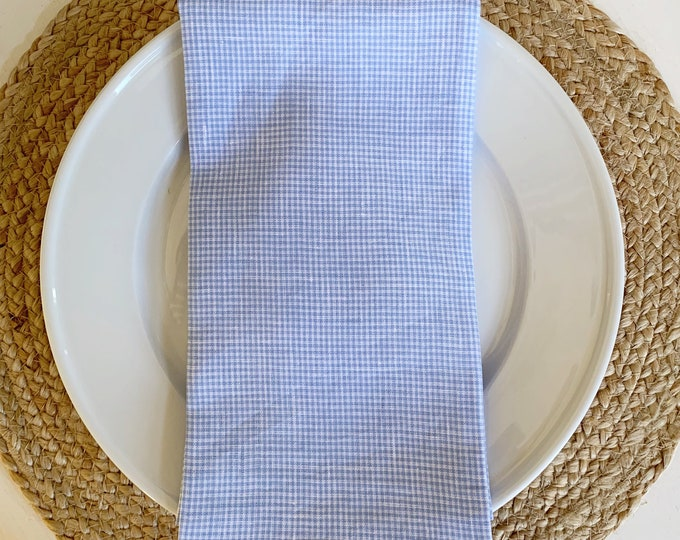 Lexie Dinner Napkin - Set of 4  Linen Blue and White Check by The Lilias Collective