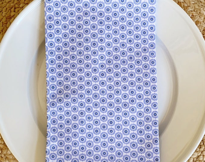 Laura Napkin - Set of 4,  in Blue and White , 22inch square by The Lilias Collective