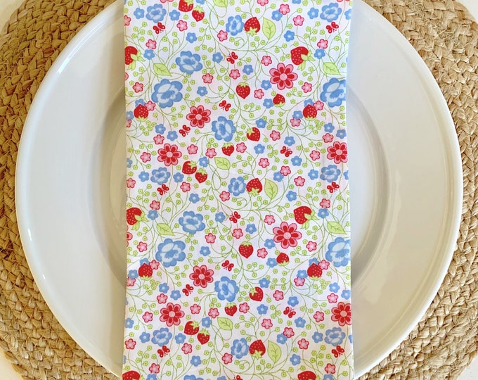 Jane Napkin - Set of 4,  in Blue, Red, Green Berry Design, 22inch square by The Lilias Collective
