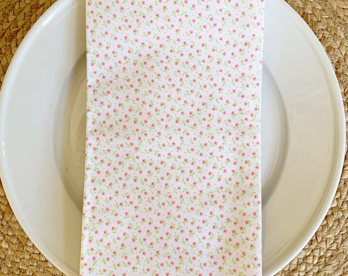 Molly Napkin - Set of 4,  in Coral and Green Mini Floral Design, 22 inch square by The Lilias Collective